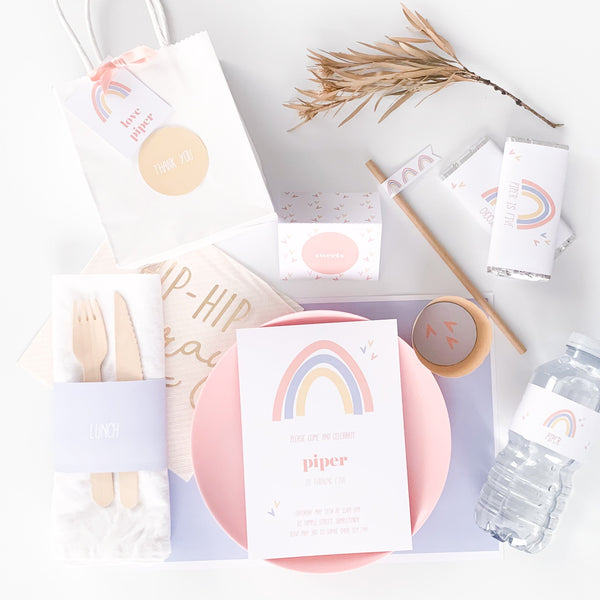 Fresh Modern Rainbow Printable party Package Download | Emma Smith