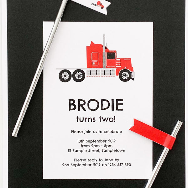 Big Red Truck Printable Birthday Party Invitation | The Printable Place
