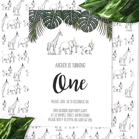 Digital birthday Invitation with Green and Gold Safari Animals. Printable.The Printable Place