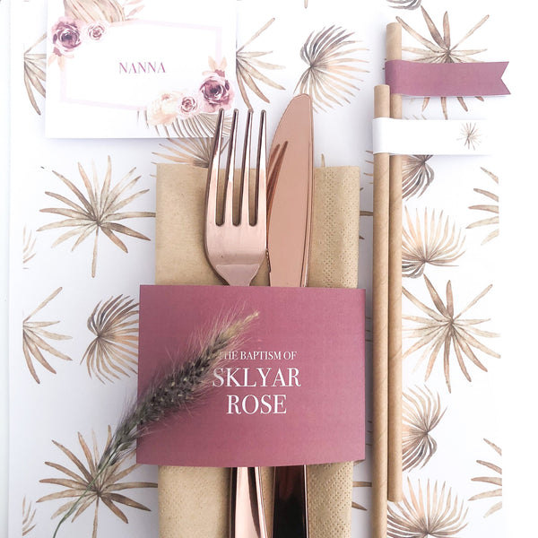 Dusty Pink Printable Napkin Wraps The Printable Place