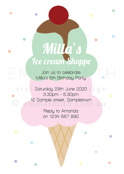 Printable Ice Cream Invitation Template Download | The Printable Place