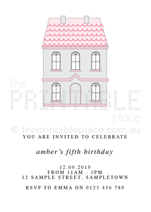 Doll House themed invitation download - The Printable Place