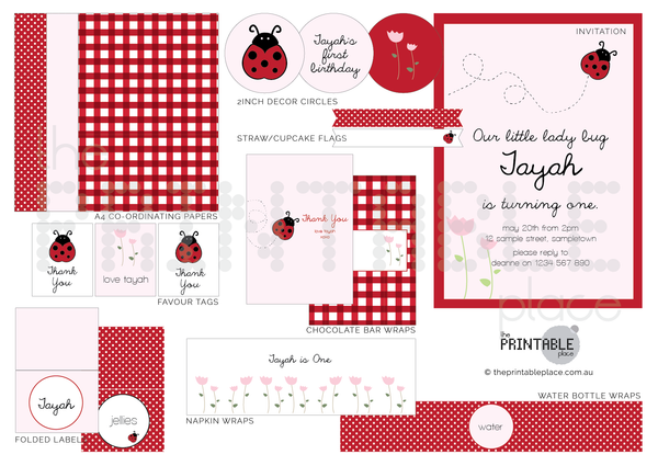 Lady Bug theme party decoration printable download | The Printable Place