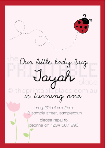 Ladybug Printable Digital Invitation Template | The Printable Place