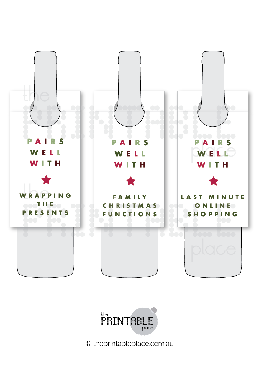 Christmas Wine Bottle Labels Printable Template - The Printable Place
