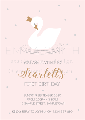 Perfect Swan Princess Invitation download printable template | The Printable Place