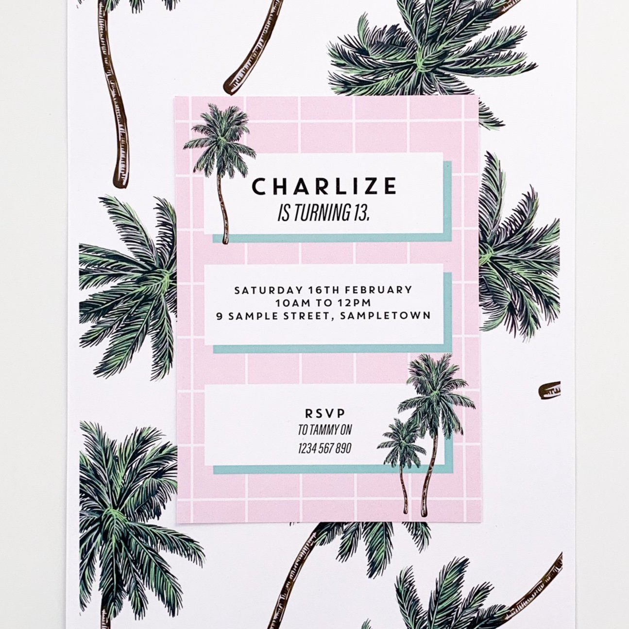 Palm Springs Inspired Digital Birthday Party  Invitation Printable | The Printable Place