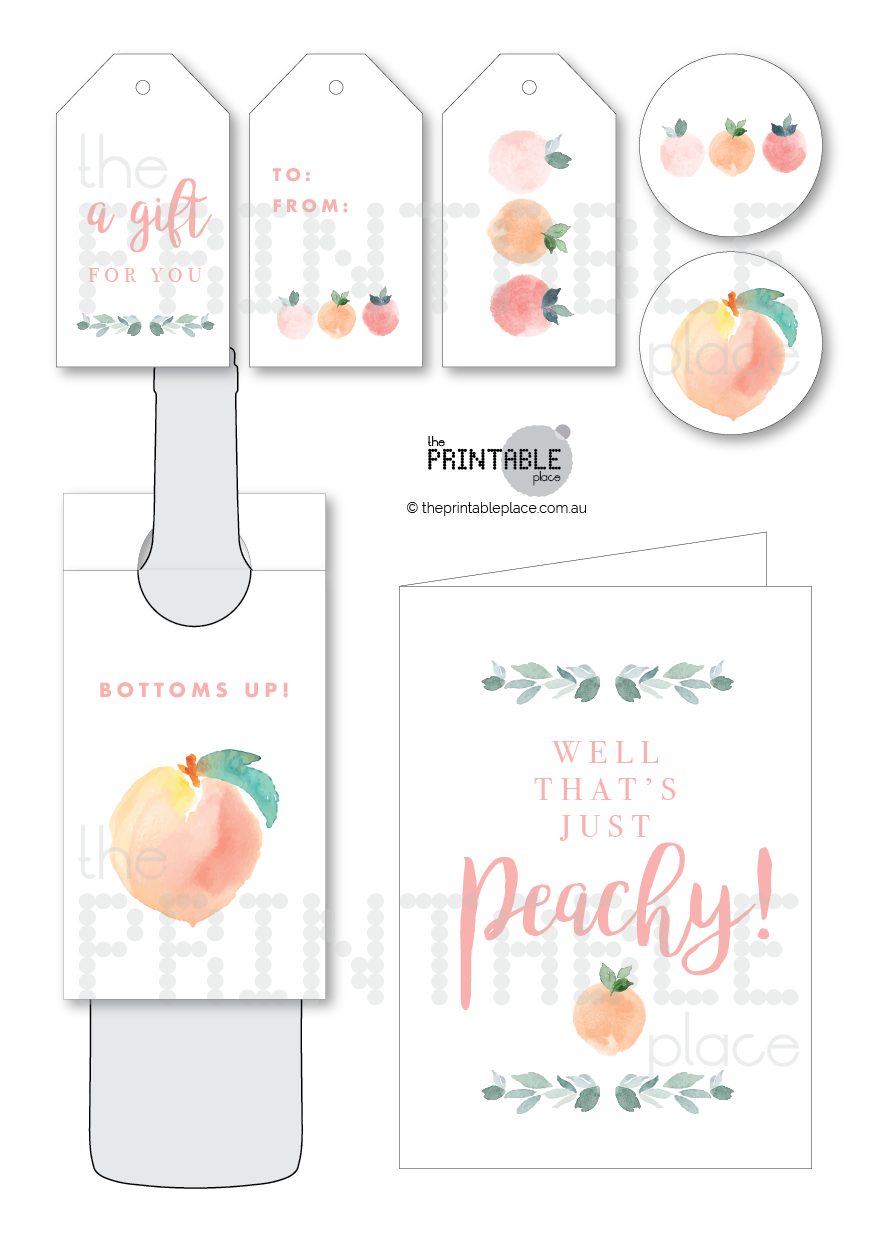 Peach themed printable Gift set Download - The Printable Place