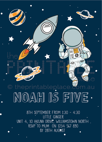 Space themed Invitation Printable Download