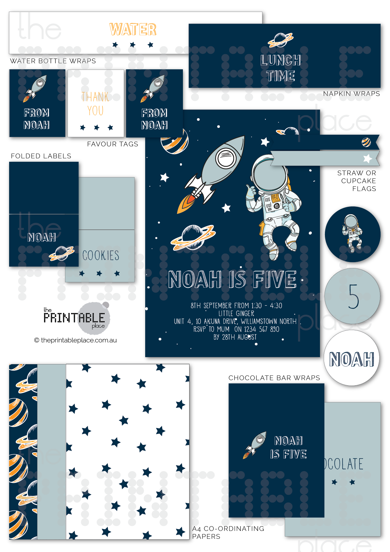 Space Planets Astronaut themed party decor - The Printable Place
