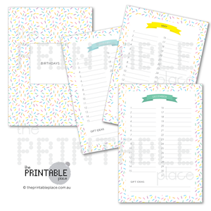 Sprinkles Birthday Calendar/Planner Download - The Printable Place