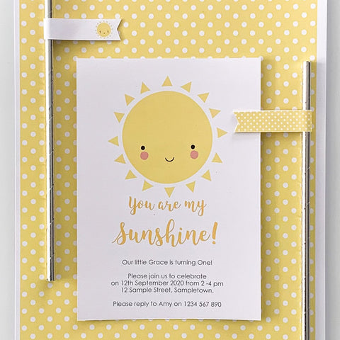 Sunshine Happy Invitation birthday party printable | The Printable Place