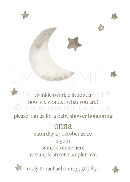 Twinkle Twinkle Little Star invitation | The Printable Place
