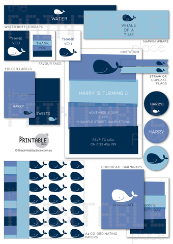 Whale Printable Party Decor Download - The Printable Place