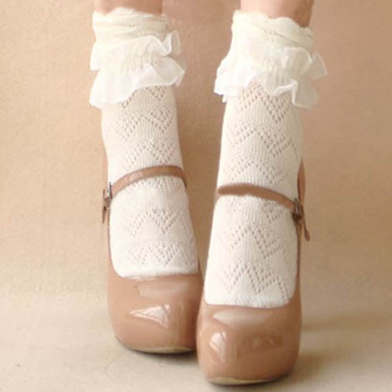 1 Pair Sweet Women Lace Ruffle Ankle Sock