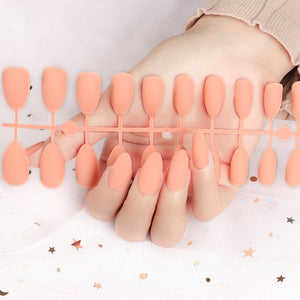 False Nail with glue Art Decorations 24pcs Nails Solid Color Frosted Matte Full Cover Tips