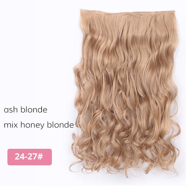 Straight Clip In One Piece Synthetic Hair Extension 5 Clips False Blonde  Brown Black Hair Pieces