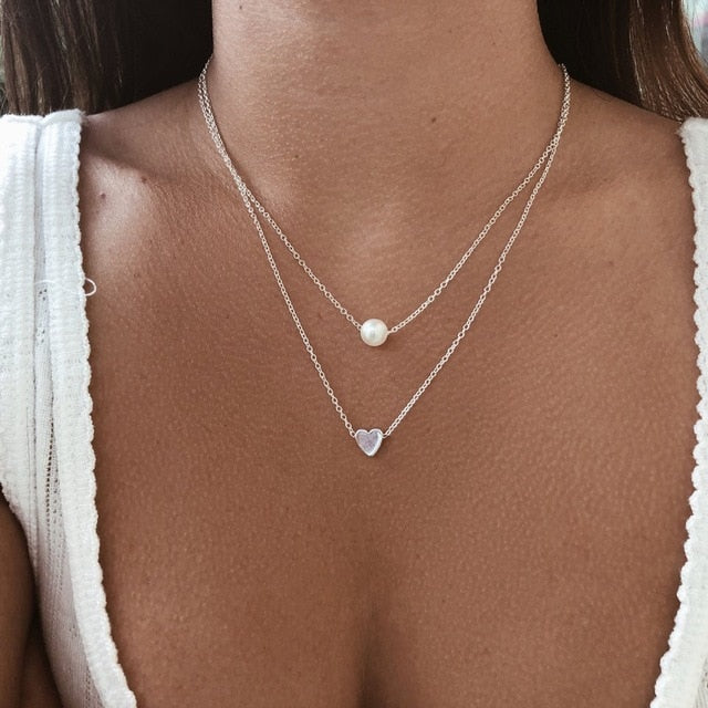 Double Layer Necklace Imitation Pearl Crystal Heart Pendant Chokers