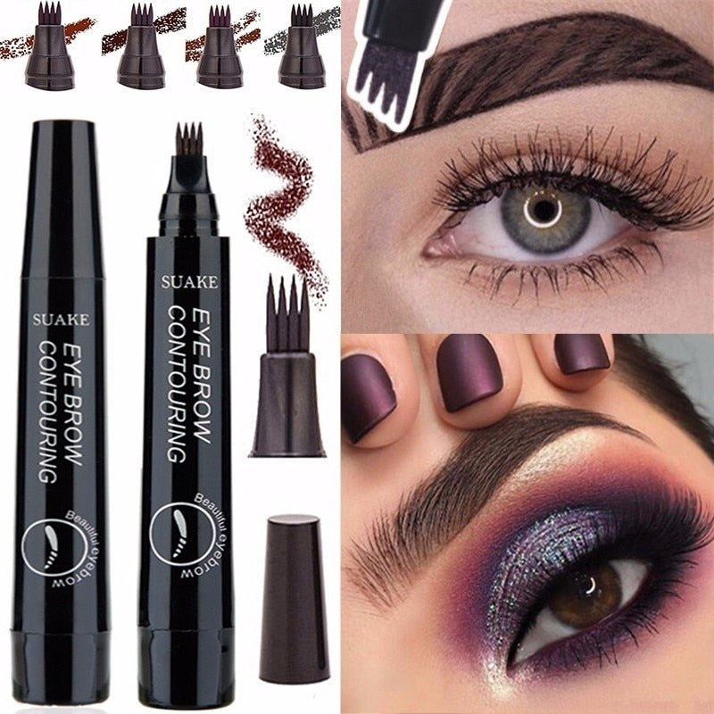 4 Colors 3D Microblading Eyebrow Tattoo Pen 4 Fork Tips Fine Sketch Liquid Pencil Waterproof