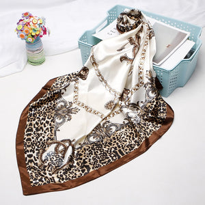 Luxury Brand Leopard Print Scarves For Women Silk Satin 90cm*90cm