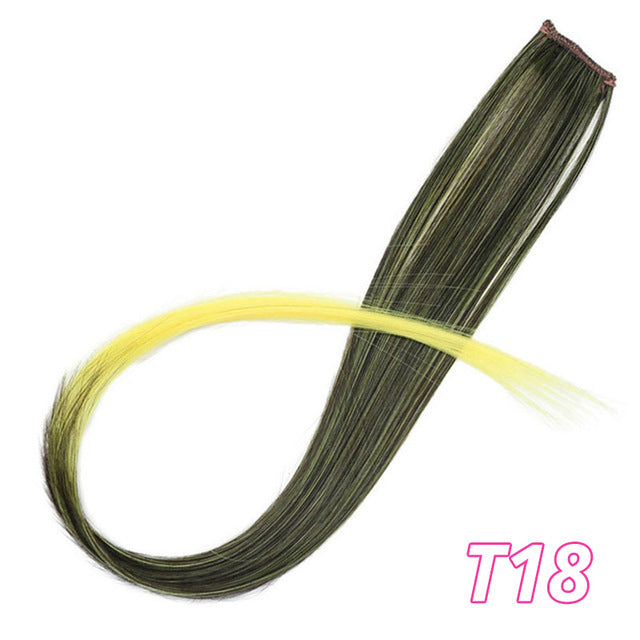 Long Straight Clip In One Piece Hair Extensions 20 Inch Synthetic