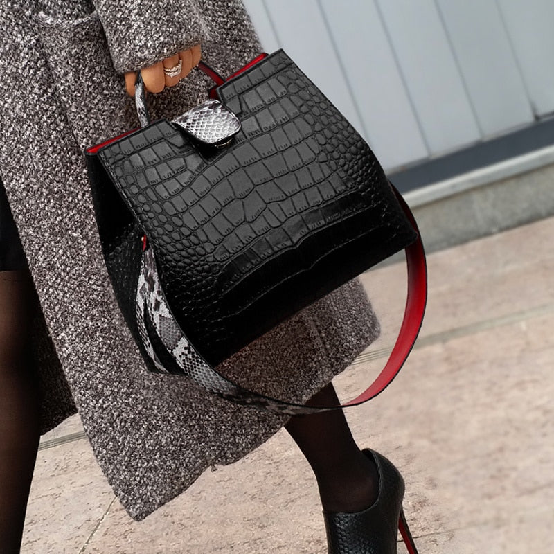Women Crocodile Handbags With Snakeskin Wide Shoulder Strap