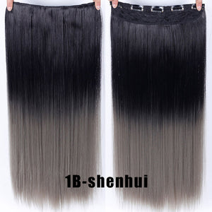 Clip In Hair Extension Ombre 24 Inches 3/4 Full Head Synthetic Natural Straight Hairpiece