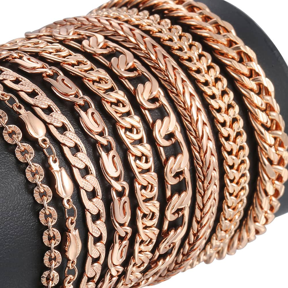 Personalized Bracelets for Women Men Rose Gold Curb Snail