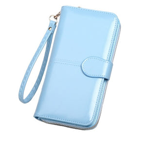 Leather Women Wallets Purses Long Zipper