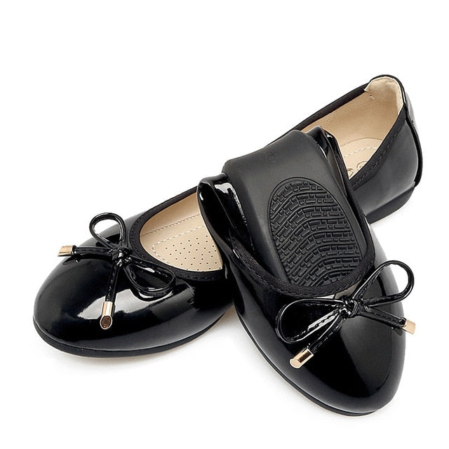 Soft Sole Foldable Shoes Round Toe Women Flats Bowknot
