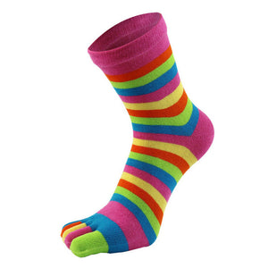 Colorful Striped Socks Women Cotton Five Finger Toe Breathable Soft Rainbow