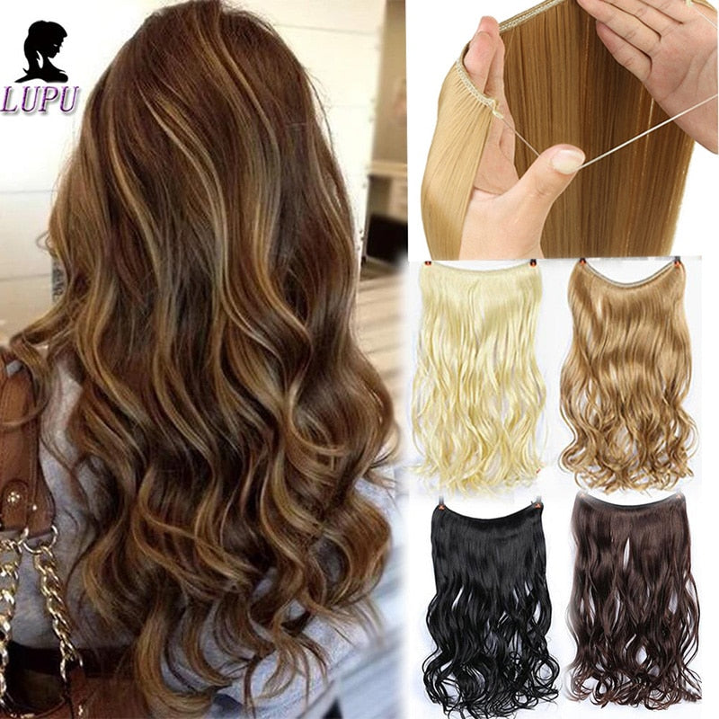 24 Inches Invisible Wire No Clips In Halo Hair Extension