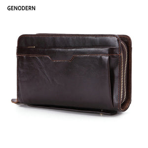 GENODERN Business Men Clutch Wallets Luxury Double Zipper Genuine Leather Large Capacity
