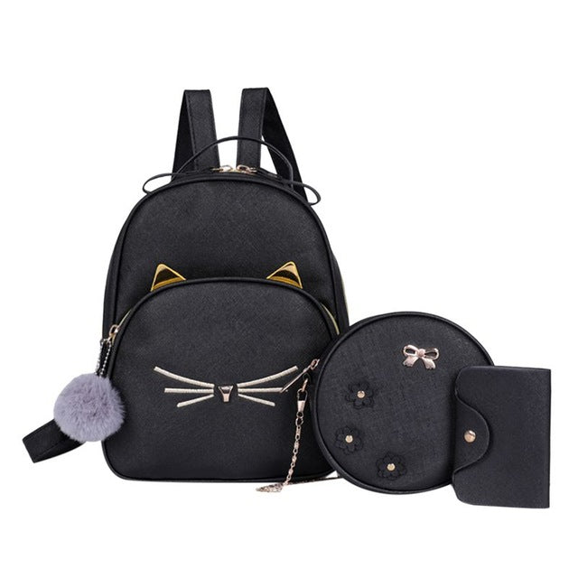 3Pcs/set Women Rucksack Travel Backpack PU Leather Cartoon Cat Square