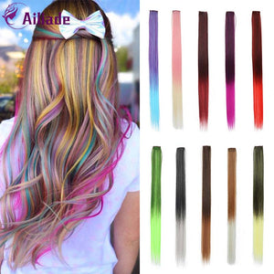 "Colored 24""Long Straight Ombre Synthetic Hair Extensions Wavy Clip In One Piece"