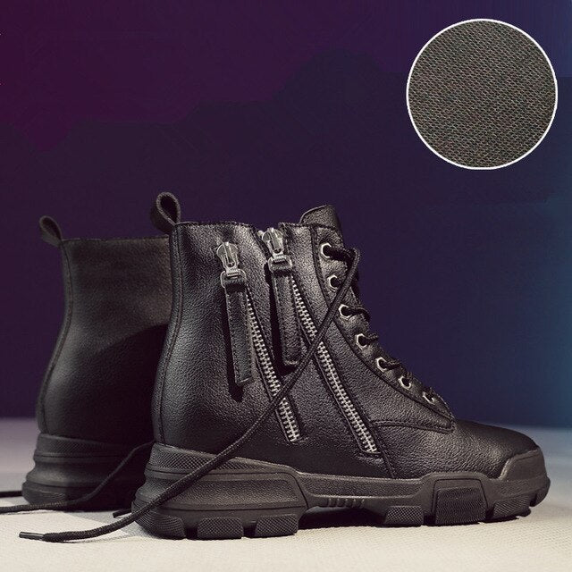 Women Thick Bottom Snow Lace Up Boots Double Zipper Brand Winter Waterproof
