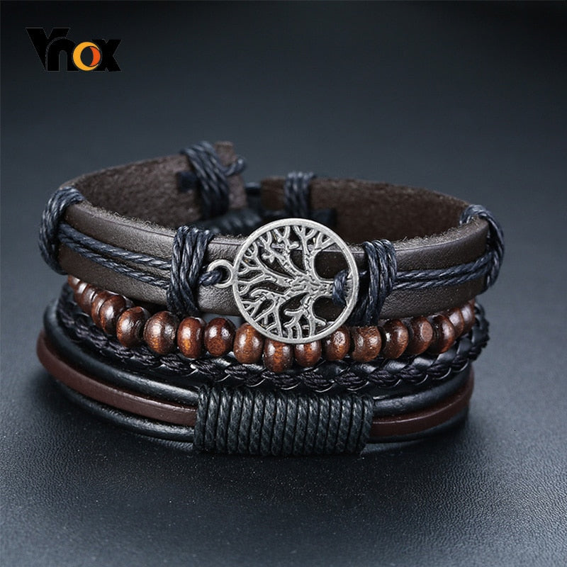 Vnox 4Pcs/ Set Braided Leather Bracelets for Men Charm Wood Beads Ethnic Tribal Wristbands