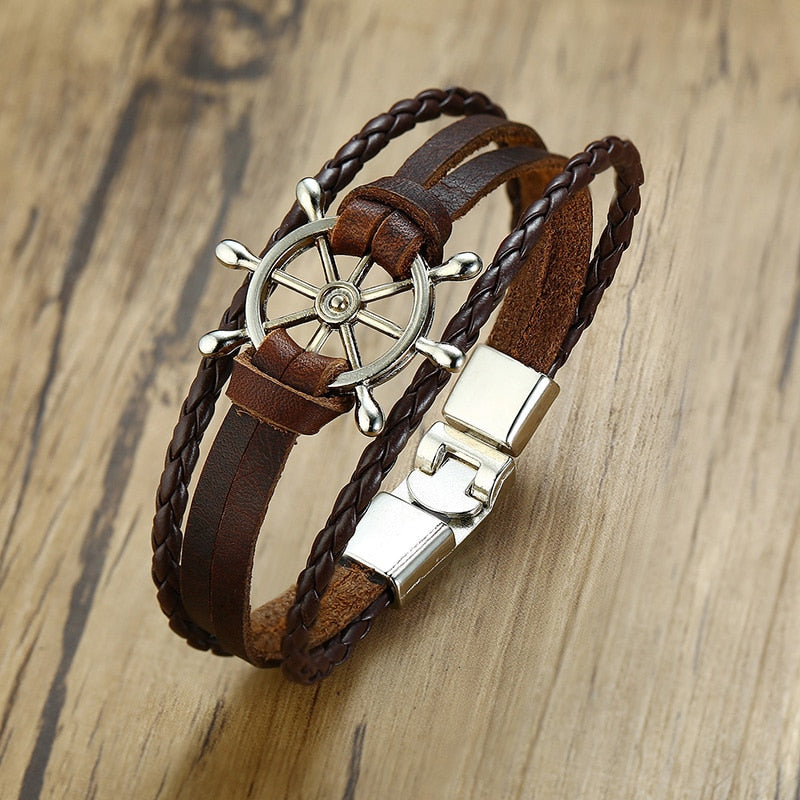 Vnox Vintage Rudder Charm Bracelet for Men Multi-layer Leather Rope Bracelets