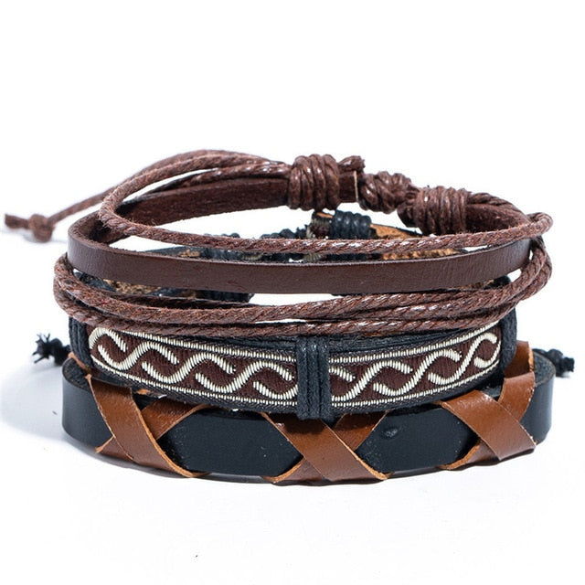 12 Style Metal Leather Bracelets Men Jewelry Vintage Classic