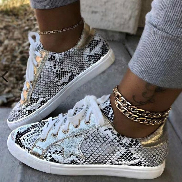 Women Sneakers Lace up Female Glitter Flats Vulcanized Shoes Snake Platform Walking Footwear