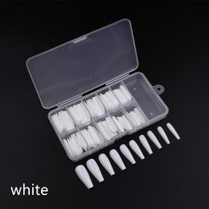 100pcs/box White/Natural/Clear Nail Tips Long Stiletto Nails Artificial Press on for  DIY