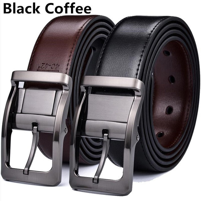 Men's Genuine Leather Dress Belt, Reversible Belt for Men Two In One
