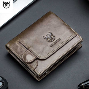 Genuine Leather Men's  Wallets With Zipper Coin Pocket Card Holder