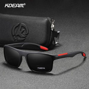KDEAM Rectangular Ultra Light TR90 Sunglasses Polarized TAC 1.1mm Thickness Lens