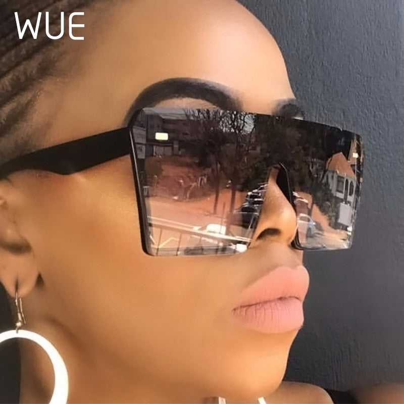 WUE  Flat Top Oversize Square Sunglasses Women Fashion Retro Gradient  UV400