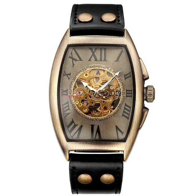 Transparent Skeleton Automatic Mechanical Watch Genuine Leather Self Winding Mens Retro Watch Clock