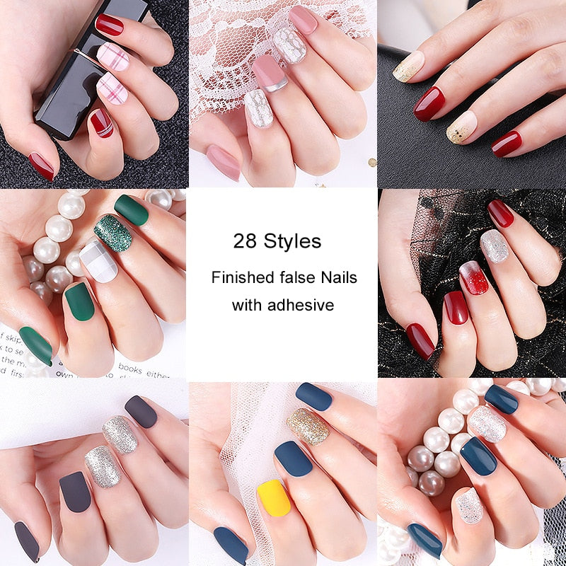 24/30pcs Full Cover False Nails with Adhesive 28 Styles Finished DIY Art Tools