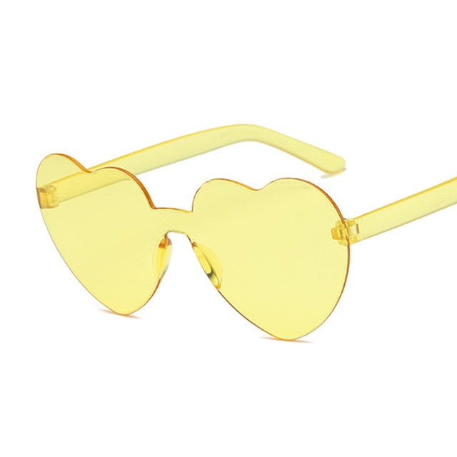 One Piece Love Heart Lens Sunglasses Transparent Plastic Clear Candy Color