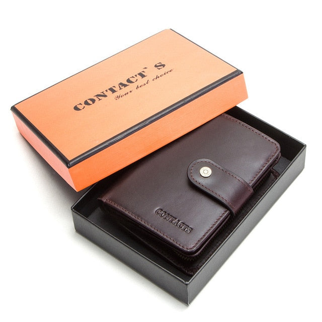 CONTACT'S genuine leather vintage wallet men with coin pocket and card holders