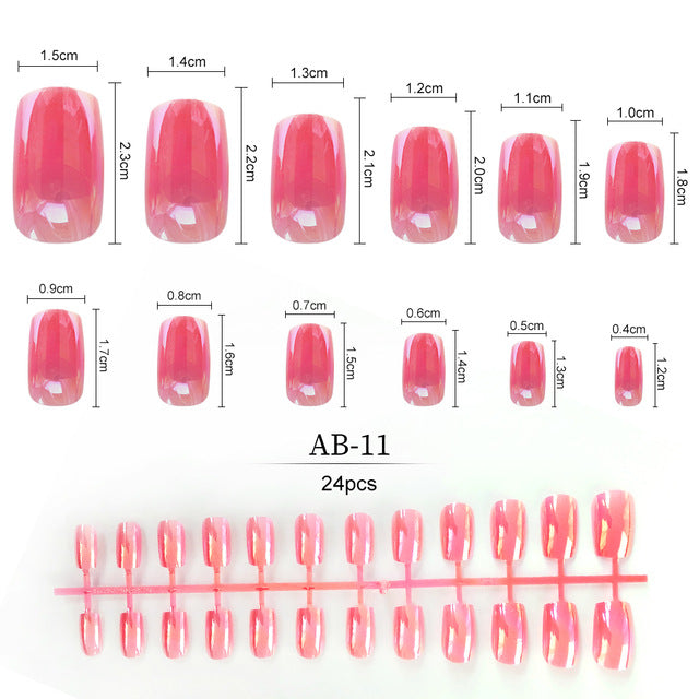 24pcs Colorful 12 Sizes False Nails Full ABS Artificial Tips Nail Art Decorations
